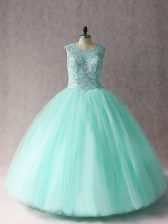 Exceptional Floor Length Lace Up Sweet 16 Dress Apple Green for Sweet 16 and Quinceanera with Beading