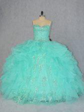 Sweet Sweetheart Sleeveless Quinceanera Dress Floor Length Beading and Ruffles Apple Green Organza