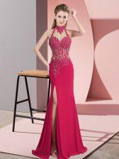 Customized Hot Pink Column/Sheath Beading Prom Dress Backless Chiffon Sleeveless Floor Length