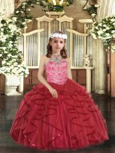 Hot Selling Ball Gowns Little Girls Pageant Dress Wholesale Red Halter Top Tulle Sleeveless Floor Length Lace Up