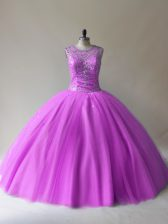 New Style Lilac Sleeveless Tulle Lace Up Ball Gown Prom Dress for Sweet 16 and Quinceanera
