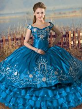 Affordable Off The Shoulder Sleeveless Sweet 16 Quinceanera Dress Floor Length Embroidery and Ruffles Teal Satin and Organza