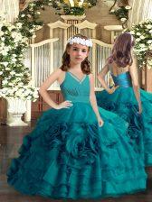 High Class Floor Length Teal Little Girls Pageant Dress Wholesale V-neck Sleeveless Zipper
