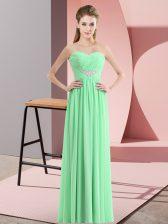 Exquisite Chiffon Sleeveless Floor Length Prom Dress and Beading