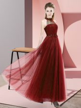 Floor Length Lace Up Damas Dress Wine Red for Wedding Party with Beading and Appliques