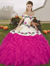 New Style Fuchsia Off The Shoulder Neckline Embroidery and Ruffles 15 Quinceanera Dress Sleeveless Lace Up