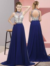 Eye-catching Chiffon Sleeveless Dress for Prom Brush Train and Beading