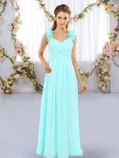 Colorful Chiffon Straps Sleeveless Lace Up Hand Made Flower Dama Dress in Aqua Blue