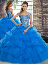 Beading and Pick Ups Ball Gown Prom Dress Blue Lace Up Sleeveless Brush Train