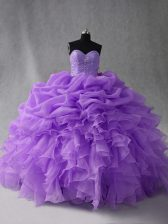 Modest Sleeveless Beading and Ruffles and Pick Ups Lace Up 15 Quinceanera Dress
