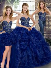 Floor Length Royal Blue Quinceanera Gown Organza Sleeveless Beading and Ruffles