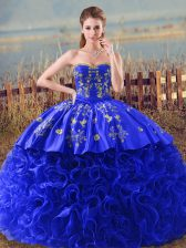 Suitable Royal Blue Sleeveless Embroidery and Ruffles Lace Up Quinceanera Dress