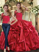 Sexy Organza Sleeveless Floor Length Quinceanera Gown and Ruffles