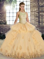 Beautiful Sleeveless Floor Length Lace and Embroidery and Ruffles Lace Up Quinceanera Gown with Champagne
