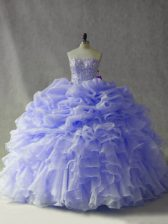 Discount Strapless Sleeveless Sweet 16 Quinceanera Dress Brush Train Beading and Ruffles and Pick Ups Lavender Organza