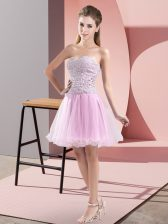 Lilac Sweetheart Zipper Beading Evening Dress Sleeveless