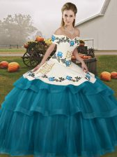 Teal Off The Shoulder Lace Up Embroidery and Ruffled Layers 15th Birthday Dress Brush Train Sleeveless