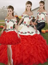 Modern White And Red Three Pieces Embroidery and Ruffles Quinceanera Dress Lace Up Organza Sleeveless Floor Length