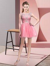 Dramatic Tulle Sleeveless Mini Length Prom Dress and Beading