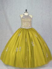 Dramatic Olive Green Tulle Lace Up Halter Top Sleeveless Floor Length Sweet 16 Dresses Beading and Appliques