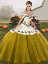 Custom Design Floor Length Brown Quinceanera Gowns Off The Shoulder Sleeveless Lace Up