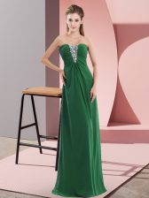 Delicate Sleeveless Chiffon Floor Length Zipper in Green with Beading