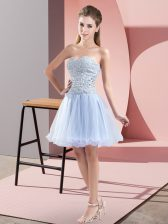 Captivating Lavender A-line Beading Prom Evening Gown Zipper Tulle Sleeveless Mini Length