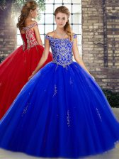 Royal Blue Ball Gowns Tulle Off The Shoulder Sleeveless Beading Floor Length Lace Up 15 Quinceanera Dress