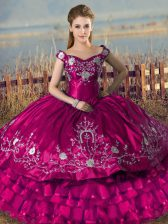 Sophisticated Satin and Organza Sleeveless Floor Length Quinceanera Gown and Embroidery and Ruffled Layers