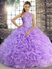 Lavender Sleeveless Fabric With Rolling Flowers Lace Up Ball Gown Prom Dress for Military Ball and Sweet 16 and Quinceanera