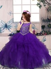 Excellent Sleeveless Floor Length Beading and Ruffles Zipper Child Pageant Dress with Purple