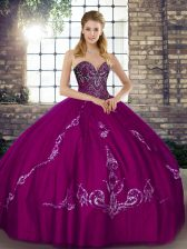 Fabulous Floor Length Fuchsia Quince Ball Gowns Sweetheart Sleeveless Lace Up