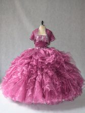 Stylish Burgundy Lace Up Strapless Beading and Ruffles Quince Ball Gowns Organza Sleeveless