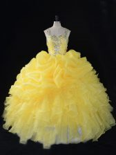 Organza Straps Sleeveless Zipper Beading and Ruffles and Pick Ups Sweet 16 Dresses in Yellow