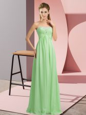 Apple Green Dress for Prom Prom and Party and Military Ball with Beading Sweetheart Sleeveless Lace Up