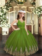 Exquisite Olive Green Sleeveless Floor Length Appliques Zipper Girls Pageant Dresses