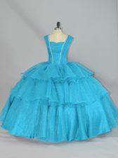 Custom Design Aqua Blue Ball Gowns Beading and Ruffled Layers Vestidos de Quinceanera Lace Up Organza Sleeveless Floor Length