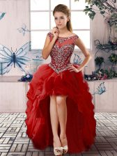 Beading and Ruffles Evening Dress Red Zipper Sleeveless High Low
