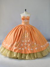 Elegant Embroidery and Ruffled Layers Quinceanera Gown Orange Lace Up Sleeveless Floor Length