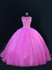 Floor Length Lace Up 15 Quinceanera Dress Lilac for Sweet 16 and Quinceanera with Beading and Lace