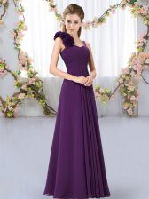 Dark Purple Empire Chiffon Straps Sleeveless Hand Made Flower Floor Length Lace Up Quinceanera Court Dresses