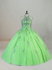 Halter Top Neckline Appliques and Embroidery 15th Birthday Dress Sleeveless Lace Up
