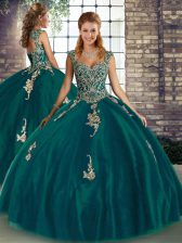Cheap Peacock Green Tulle Lace Up 15 Quinceanera Dress Sleeveless Floor Length Beading and Appliques