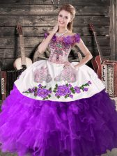 Embroidery Quinceanera Gowns Purple Lace Up Sleeveless Floor Length