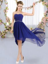 Superior Strapless Sleeveless Lace Up Quinceanera Court of Honor Dress Royal Blue Chiffon