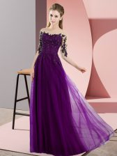 Nice Dark Purple Half Sleeves Beading and Lace Floor Length Quinceanera Court Dresses