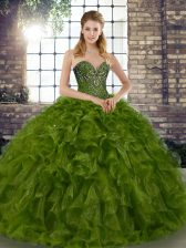 Customized Olive Green Ball Gowns Beading and Ruffles Sweet 16 Quinceanera Dress Lace Up Organza Sleeveless Floor Length