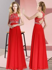 Superior Red Scoop Backless Beading Sleeveless