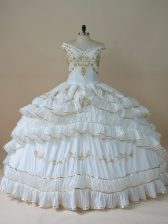 White Off The Shoulder Neckline Beading and Embroidery Quinceanera Dresses Sleeveless Lace Up