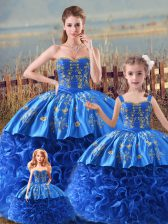 Royal Blue Ball Gowns Embroidery and Ruffles Ball Gown Prom Dress Zipper Satin and Fabric With Rolling Flowers Sleeveless